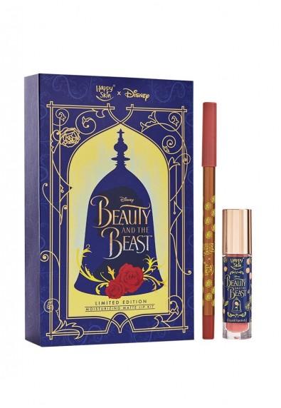 Happy Skin X Disney Beauty And The Beast Moisturizing Matte Lip Kit In Rose