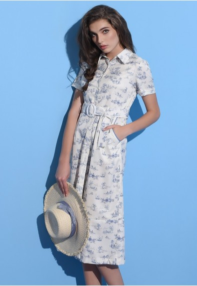 BLUEPERIOD PORCELAIN SHORT SLEEVES DRESS