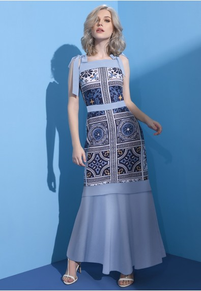 BLUEPERIOD MEDITERRANIAN SLEEVELESS DRESS