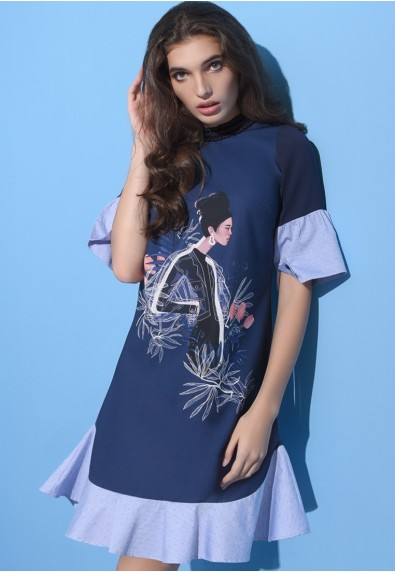 BLUEPERIOD BLEU QUARTER SLEEVES DRESS