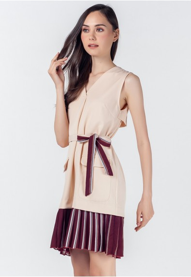 Romantic Interlude Orlina Sleeveless Dress w Belt
