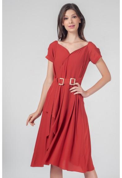 RED CURRANT QUAIN SHORT SLEEVES DRESS