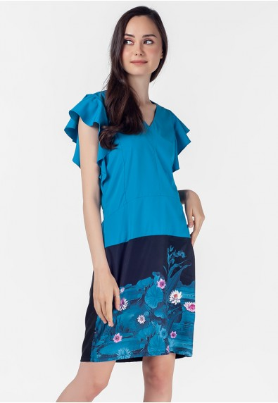 VELVET ROSE POPELETT SHORT SLEEVES DRESS