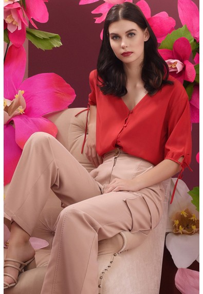 RED CURRANT QLOE SHORT SLEEVES TOP