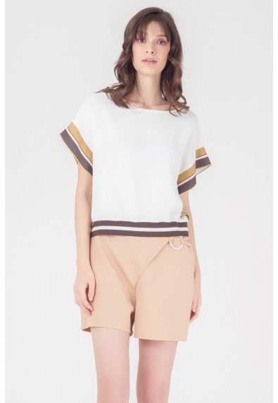 NATURAL TAZUE SHORT SLEEVES TOP