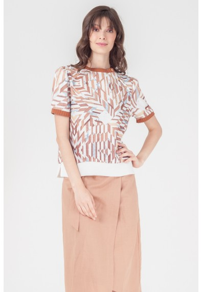 NATURAL TANCIE SHORT SLEEVES TOP