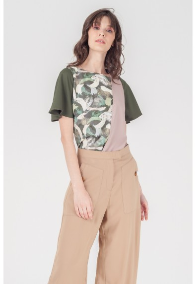 NATURAL TERTIA SHORT SLEEVES TOP