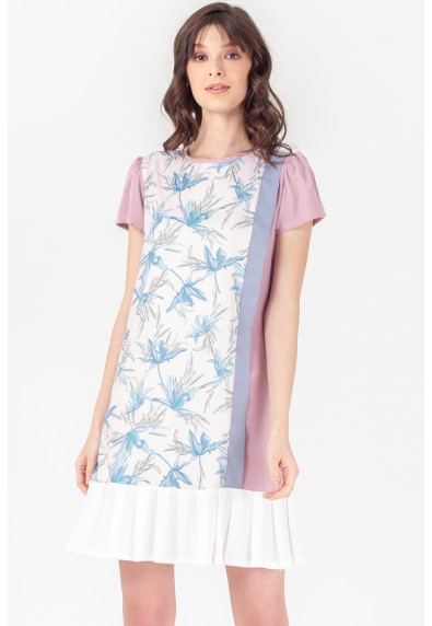 NATURAL TRINSLEY SHORT SLEEVES DRESS