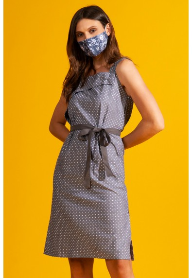 NATURAL THEBE SLEEVELESS DRESS W/ MASK