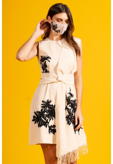 NATURAL THEMPEST SLEEVELESS DRESS W/ MASK