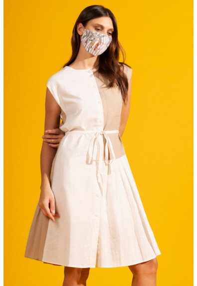 NATURAL TRIXIA SLEEVELESS DRESS W/ MASK