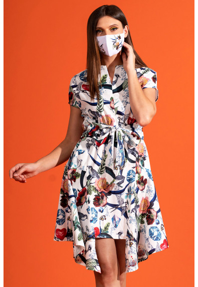 VIVID OPTIMISM VALERIA SHORT SLEEVES DRESS W/ MASK
