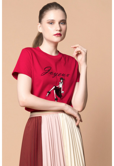MERRY FESTIVITEES JOYEUX SHORT SLEEVES TOP