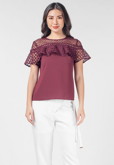 Romantic Interlude Oanah Short Sleeves Top