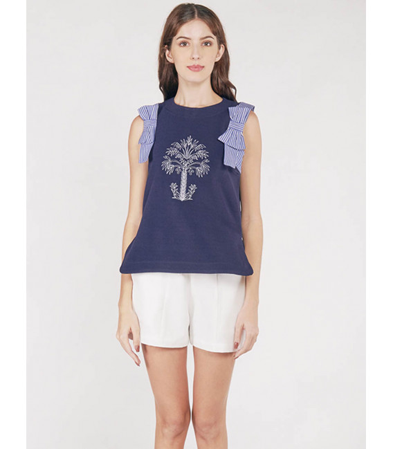 EXOTIC ESCAPES BLUE BELL SLEEVELESS TOP