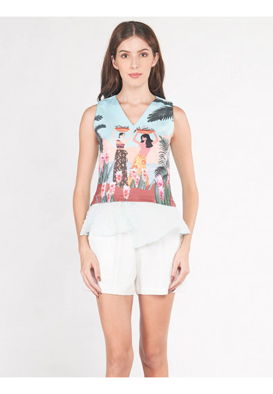 EXOTIC ESCAPES BERGAMOT SLEEVELESS TOP
