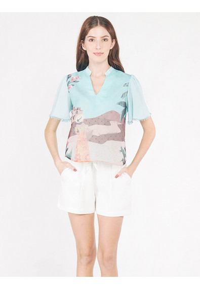 EXOTIC ESCAPES BERGAMOT SHORT SLEEVES TOP