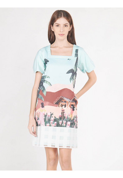 EXOTIC ESCAPES BERGAMOT SHORT SLEEVES DRESS
