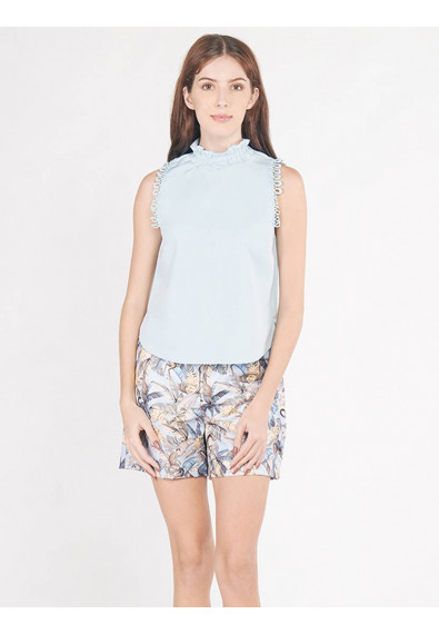 EXOTIC ESCAPES BORAGE SLEEVELESS TOP