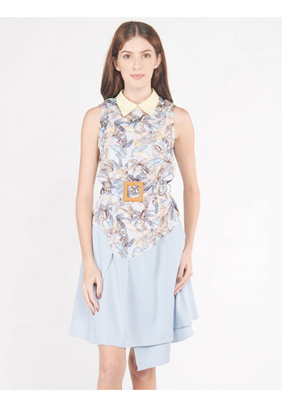 EXOTIC ESCAPES BROSSICA SLEEVELESS DRESS W/ BELT