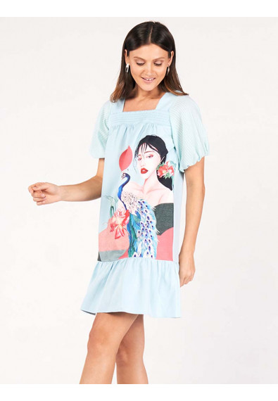 SURVIVE AND THRIVE DAYLILY SHORT SLEEVES DRESS